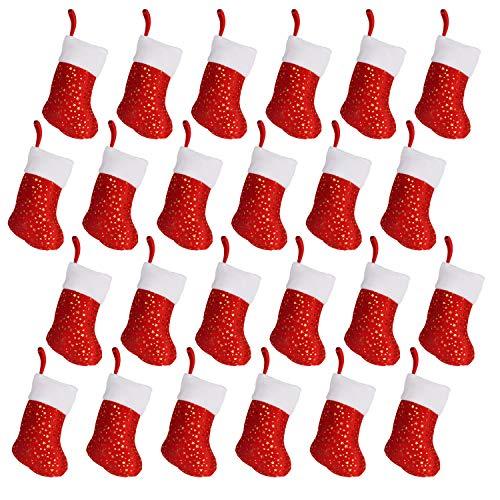 BELLE VOUS Nikolausstiefel Set (24 STK) - 24cm Rote Nikolaus Socken zum Befüllen – Strumpf Weihnachten Nikolausstrumpf Weihnachtsstiefel zum Aufhängen für Kamin, Geschenkbeutel Weihnachtsdeko