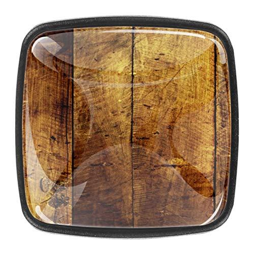 4 pomelli in vetro di cristallo per armadietti, maniglie per cassetti, ante con viti, grungy legno duro graffiato tavole