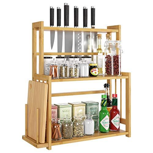 HOMECHO Bambus Gewürzregal Küchenregal mit 3 Etagen Gewürz-Ständer für Küche mit Messerhalter und Schneiderbretthalter Schreibtisch Organizer für Badezimmer Wohnzimmer 47.7 x 18 x 53.5 cm