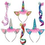 Diadema Unicornio Niña Cumpleaños, con Brillantes Orejas de Gato y Cuerno de Unicornio, Banda de Pelo de Unicornio, con 3 Pinzas para el Cabello de Peluca de Unicornio, para Cumpleaños Fiestas Cosplay