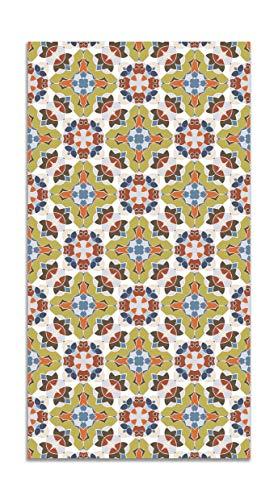 Panorama Tappeto Vinile Piastrella Stile Orientale Originale 80x300 cm - Tappeto da Cucina Piastrelle Antiscivolo - Tappeto Moderno Salotto - Tappeto Lavabile Ignifugo - Tappeto Grande - Tappeto PVC