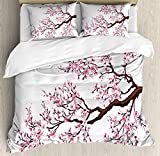 Ambesonne Japanese Duvet Cover Set, Branch of a Flourishing Sakura Tree Flowers Cherry Blossoms Spring Theme Art, Decorative 3 Piece Bedding Set with 2 Pillow Shams, Queen Size, Pink Brown