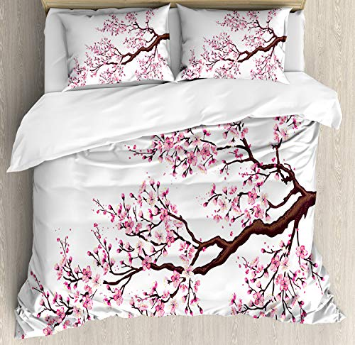 Ambesonne Japanese Duvet Cover Set, Branch of a Flourishing Sakura Tree Flowers Cherry Blossoms Spring Theme Art, Decorative 3 Piece Bedding Set with 2 Pillow Shams, King Size, Pink Brown