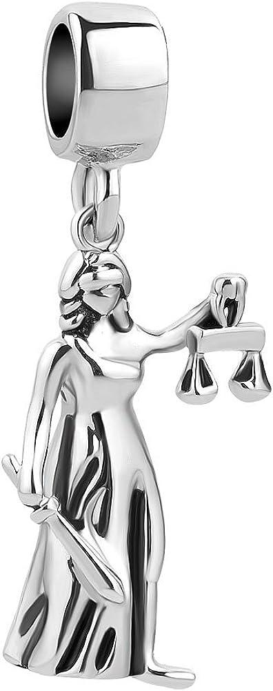 SexyMandala Beads Dangle Charm for European Bracelets Lady Greek Goddess of Justice La Justitia Themis Blind Folded