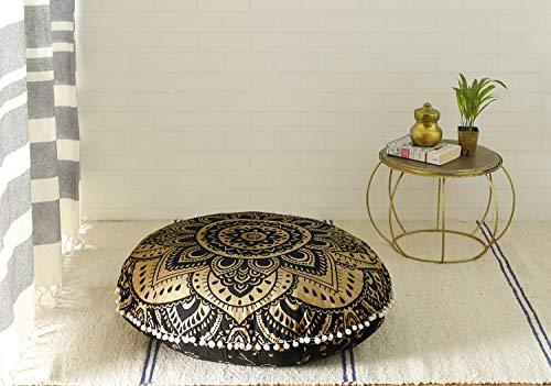 Madhu International Tapisserie-Mandala-Bodenkissenbezug aus Baumwolle, Überwurf, Pouf, Hund, Sitz, 81,3 cm, Schwarz / Gold