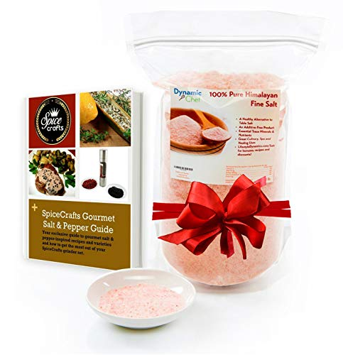 Pure Himalayan Salt by Dynamic Chef, Pink Salt, Essential Trace Minerals, Plus RECIPE EBOOK (Fine Salt)