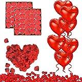 RANJIMA Kit de Decoración para Bodas,Conjunto de Decoración Romántica,Decoración de Citas de Pareja,Rosa Rojo Velas en Forma de Corazón Foil Globos Corazón Rojo para Bodas/Aniversarios/Compromiso