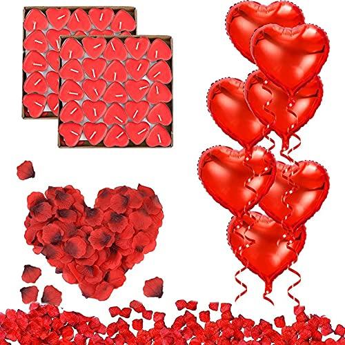 RANJIMA Romantische Kerzen Rote Teelichter und Rosenblätter, Romantisch Deko Set, Rot Herz Luftballons, Hochzeit Dekoration, Geburtstag Party, Romantische Atmosphäre Verlobung Freundin-Dating