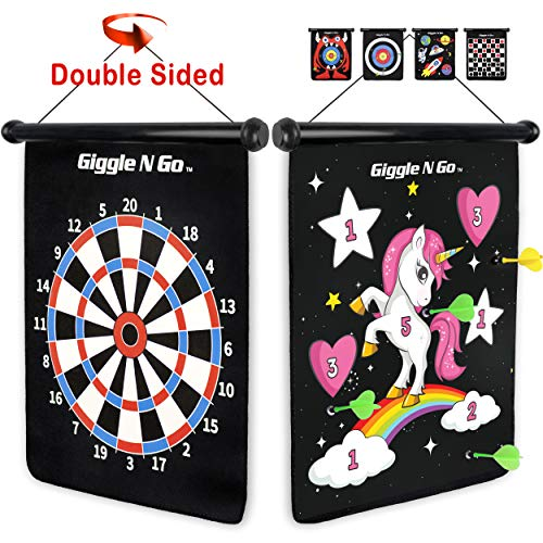 GIGGLE N GO Unicorn Gifts for Girls - Unicorn Toys Like Our Magnetic Dart Board are a Hit at Any Unicorn Party - This Fun Girls Gift Includes 6 Safe Darts, 2 Games and Hangs Anywhere Fast -(Unicorn)