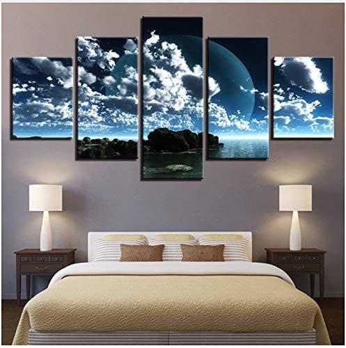 FCXBQ Pintura sobre Lienzo 3D HD Impresiones Pared Arte habitación decoración del hogar 5 Piezas Luna en Las Nubes Lona Paisaje de Las Islas Vírgenes Póster