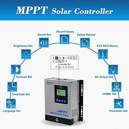 AMPINVT 40amp MPPT Solar Charge Controller 12V 24V 36V 48V Auto,Max Input 150V PV Solar Regulator(MPPT-40A)