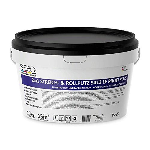 Rollputz Streichputz 5412 LF weiß 10kg SEBO Extra Fein 10 kg 0,5 mm Körnung, schneeweißer, mineralischer Dekorputz, hochwertig, zum einfachen Aufrollen auf Wand oder Decke im Innenbereich,