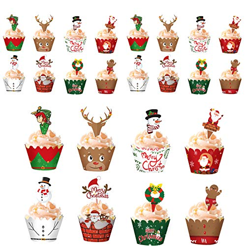 """""""N/A"""" 24Pack Christmas Cupcake Toppers and Wrappers Set,Santa Claus/Reindeer/Snowmen/Happiness Gingerbread Cupcake Topper Picks Dessert Decoration Xmas Party Supplies"""