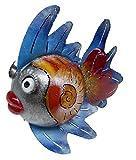Medusa XXL Gartenfigur Dekofigur Kugelfisch Pamela Silber rot blau, Metall