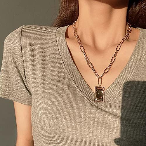 Chenfeng Collar con Colgante de Mujer Collar Colgante Cuadrado Barroco Simple para Mujer Sentido Senior de Moda Retro Regalos para Esposa Madre y Novia Regalo de cumpleaños