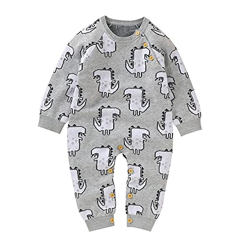 0-18 Months,SO-buts Newborn Baby Girls Boys Cotton Knitted Dinosaur Sweater Romper Long Sleeve Jumpsuit Outfits Autumn Winter Romper Coat (Gray, 0-3 Months)