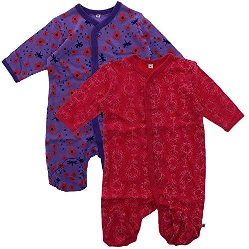 Pippi 2er Pack Baby Mädchen Schlafstrampler mit Aufdruck, Langarm mit Füßen, Alter 18-24 Monate, Größe: 92, Farbe: Pink, 3821