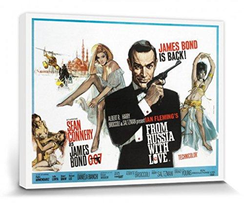 1art1 James Bond 007, Liebesgrüße aus Moskau, Sean Connery Poster Leinwandbild Auf Keilrahmen (40x30 cm) + 1x Aktions-Home-Deko Artikel