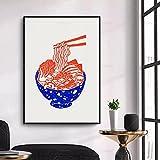 stampa su tela stampa ramen, ciotola di zuppa di noodle in tela ispirata ai vegani giapponesi, stampa su linoleum, poster di arredamento moderno per la casa 40x60 cm (16x24 pollici)