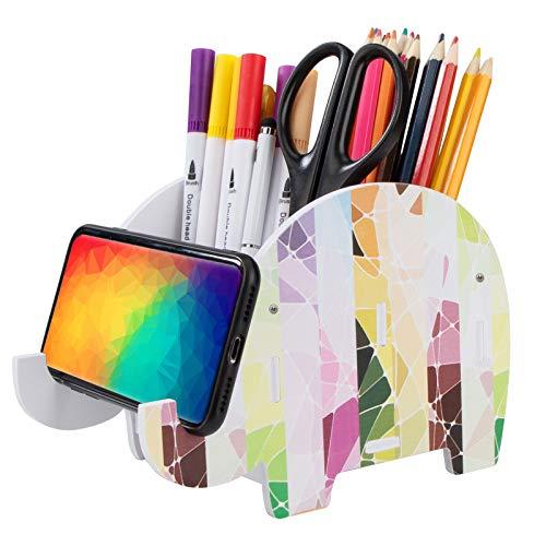 Stiftehalter Elefant Multifunktionales Schreibtisch Bleistift Stifthalter Süß Kreativer Handy Ständer Abnehmbarer Stiftebecher Holz Bürozubehör doppelte Fächer