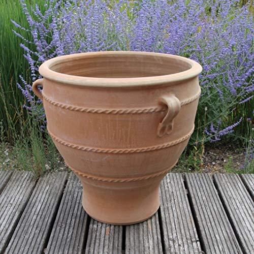 Céramique de Crète | jardinière en terre cuite de haute qualité avec poignée | 50 cm | fait à la main, résistant au gel et aux intempéries Jardinières, jardin, balcon, terrasse, type: rose