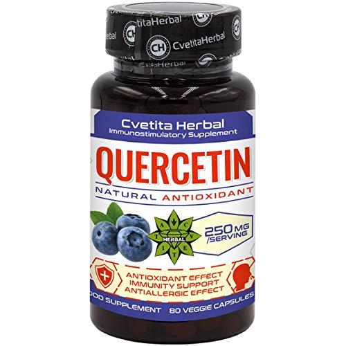 Quercetin   80 vegetarische Kapseln x 250 mg (80 Tage Vorrat)   Sophora Japonica Extrakt   Hohe Absorption   Gesundes Herz-Kreislauf-System Antiallergisches Produkt von Cvetita Herbal (1)