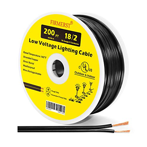 FIRMERST 18/2 Low Voltage Landscape Wire Outdoor Lighting Cable UL Listed 200 Feet