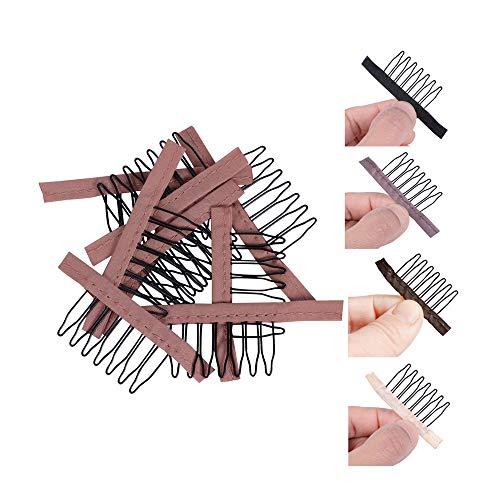 24 pcs/lot Peignes pour perruques Clips de perruque à 7 dents Dents en acier Polyester Durable Peigne en tissu pour perruques de coiffe Accessoires accessoires de perruque (Marron clair)
