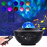 Night Light Star Projector, 2 in 1 Ocean Wave Projector with Music, Starry Lamp Features Remote Control Timer and Bluetooth Speaker 10 Colourful Lighting Mode for Room Party