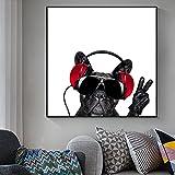 Piantings de lienzo de perros encantadores en las imágenes de la pared para la sala de estar perro escuchando música carteles e impresiones Cuadros decoración de pared 30x30 CM (sin marco)