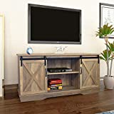 Farmhouse Sliding Barn Door TV Stand for TVs up to 65', Home Living Room Entertainment Center, Wood Storage Cabinet with Doors and Shelves, Shaded Oak