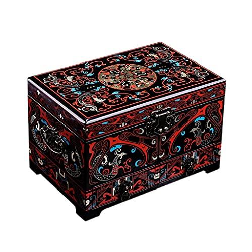 NJZYB Mostrar multifuncional para mujeres Hecho a mano Antigua Capacidad de gran capacidad Dormitorio de madera Caja de joyería portátil del gabinete de escritorio (Color : B)