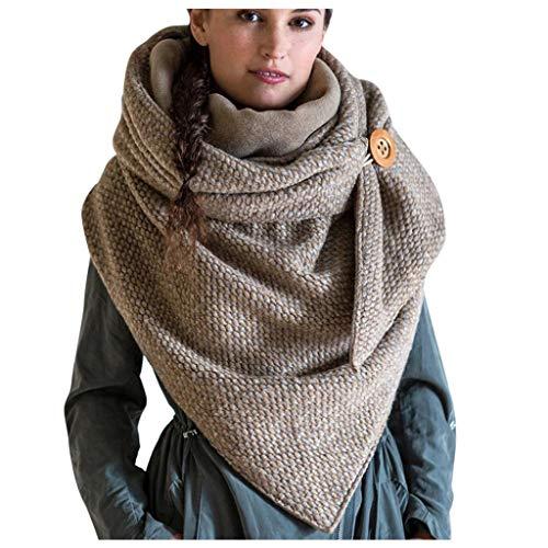 Sciarpa calda invernale da donna, scaldacollo con bottoni e stampa retrò, scialle multiuso avvolgente, cachi