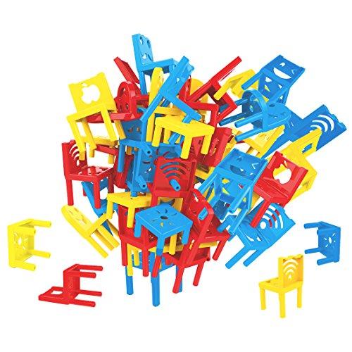 deAO Stuhlstapel-Brettspiel: Gleichgewichtsspiel für die Ganze Familie