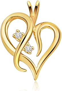Kaizer Economica Heart Shape Gold Plated Pendant with American Diamond Sparkle for Women/Girls (Valentine/Gifting)