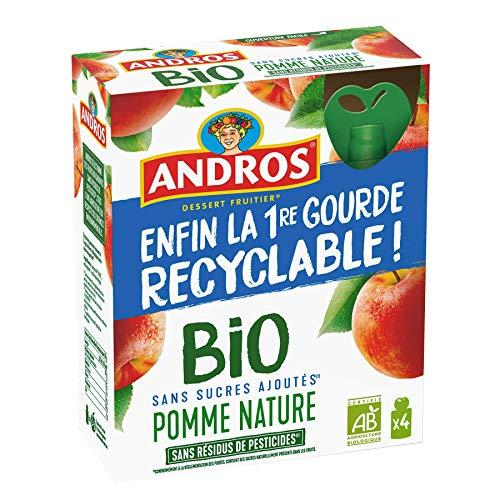 ANDROS - Compote de Fruit - Gourde Recyclable - Bio - Sans Sucre Ajouté - Goût Pomme - Idéal pour le Goûter des Enfants et des Bébés - Pack de 4
