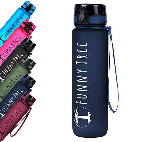 Funny Tree® Trinkflasche aus Tritan. 1000ml Midnight Blue. Water Bottle BPA frei und auslaufsicher! Ideal als Sportflasche, Wasserflasche und beim Wellness, oder auf All deinen Outdoor Aktivitäten