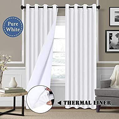H.VERSAILTEX White Blackout Curtains (2 Layers) - Elegant Rich Faux Silk Window Panels with White Liner Thermal Insulated Solid Grommet Curtain Drapes, Privacy Assured (Set of 2, 52 x 84 Inch)