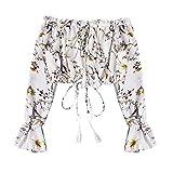 KEERADS - Blusa de mujer elegante con estampado de farolillo, manga de gasa sólida, sexy Blanco M