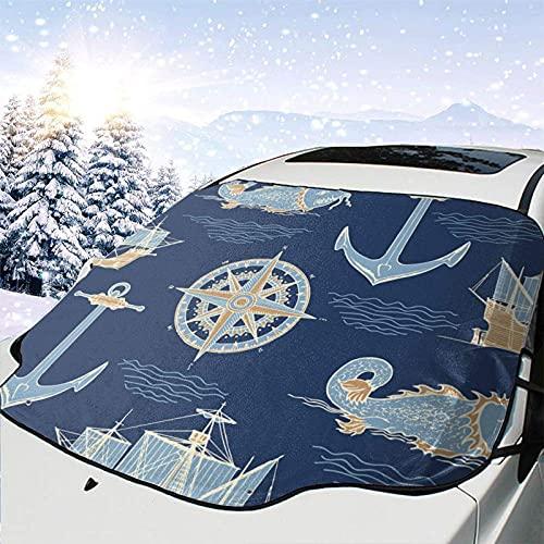 Tcerlcir Fondo de la Cubierta de Nieve del Parabrisas del automóvil sobre el Tema de los Viajes Cubierta del Parabrisas Cubierta de Nieve Delantera Parasol Protector de Parasol Plegable, 147x118cm