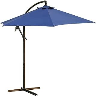 Rectangular Patio Outdoor Living Solid Color Umbrellas, Sttech1 Garden Umbrella with Crank Table Market Umbrella (Ship from USA, Bule)