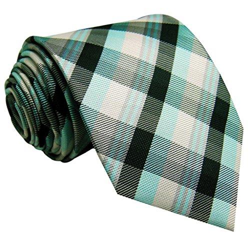 """Shlax&wing Hommes Cravate à carreaux Blanc Vert Longue Size 60.6"""""""
