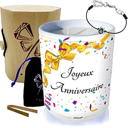 ArtGosse - Vela con joya decorada con cristales de Swarovski • Cera vegetal perfumada monoï de Tahití • Caja de regalo (Summer Time Elegance), color negro