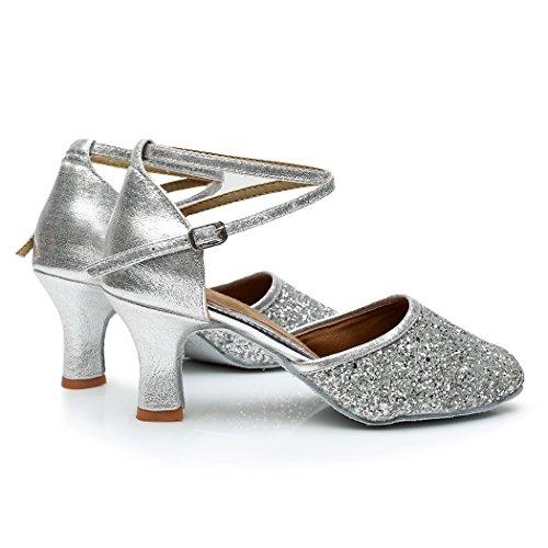 VASHCAMER – Damen Tanzschuhe Hoher Absatz Standard/Latein/Ballsaal 7CM Silber - 4