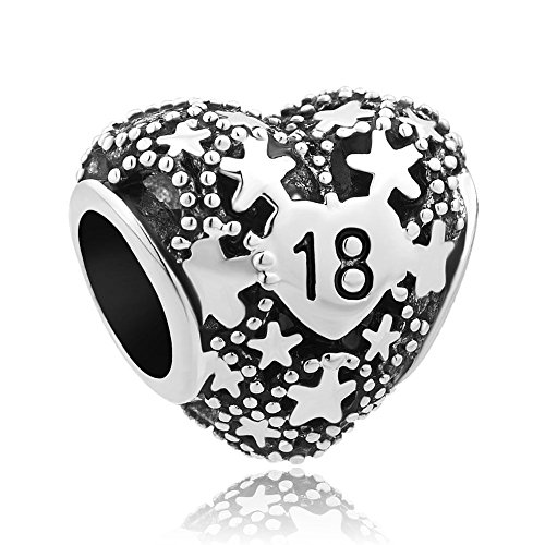 UNIQUEEN Love Star Heart Charms 18 Birthday Charm Bead Gift Fit Pandora Bracelet