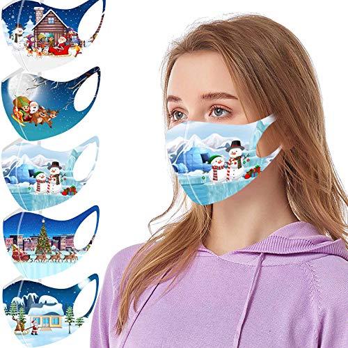 5PCS Cara_Mascarillas Reutilizables Lavables de Navidad Transpirables con Elástico para Los Oídos para Seguro...