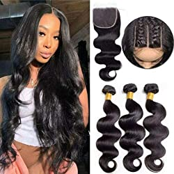 top 10 coco hair extensions Pretty Coco Brazilian Body Wave Human Hair 3 Bundle, 18 20 22 + 16inch Closure 8A Untreated…