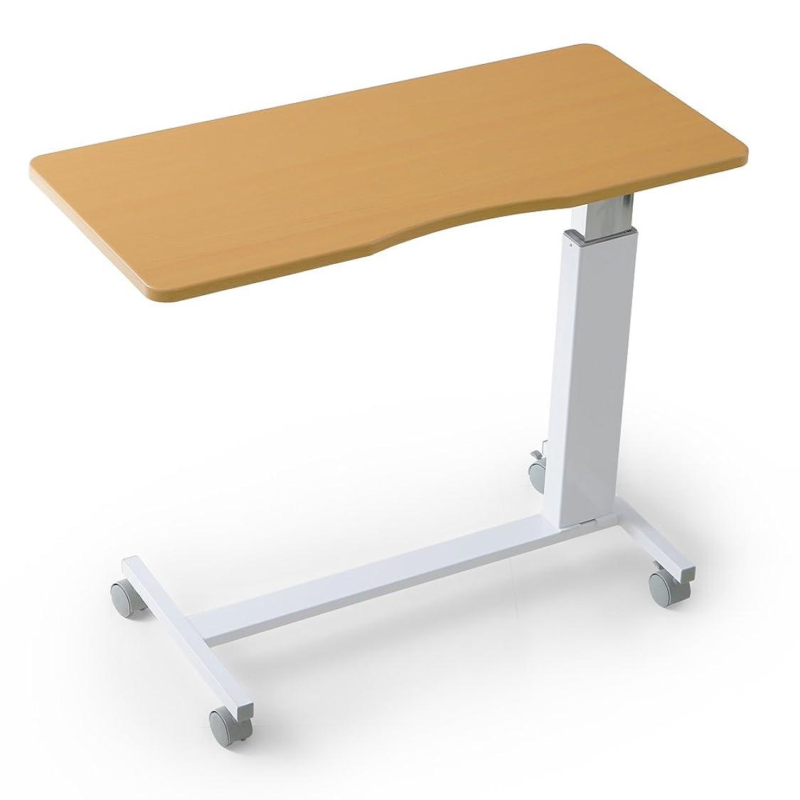 インポートヒステリック挨拶LOWYA (ロウヤ) テーブル ベッドテーブル ガス圧 昇降 66~90cm キャスター付 介護 サイドテーブル ナチュラル ホワイト おしゃれ 新生活
