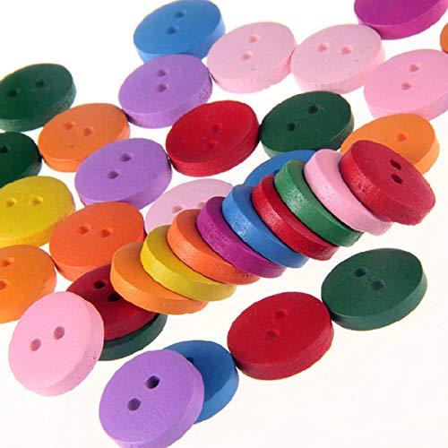 Botones de madera de color, 50 piezas de...