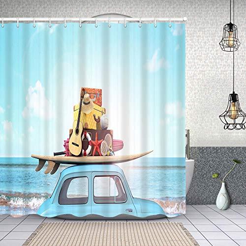 Waterproof Shower Curtain,car luggage on roof ready summer,Washable Fabric Bathroom Decor Set with Hook Bath Curtain 180x180cm